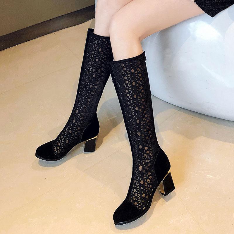 2019新款显瘦黑色镂空靴透气网靴粗跟夏季女靴6cm高跟单靴大码43