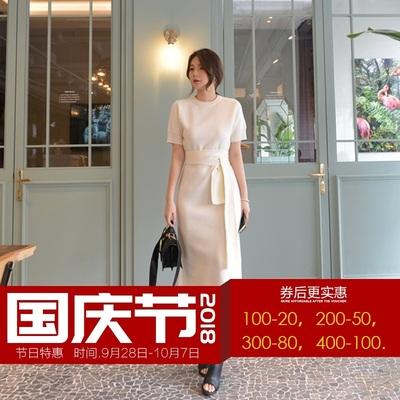 冰絲針織連衣裙女夏季2018新款短袖韓版綁帶收腰顯瘦氣質裙子女