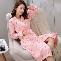 Ladies Korean Pajamas Robe Women's Autumn Cotton Long Cute Spring Long Sleeve Bathrobe Cotton Home Bathrobes