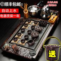 万道紫砂茶具套装家用整套功夫陶瓷简约现代喝茶台实木茶盘全自动