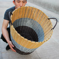 Plastic rattan hamper dirty clothes storage basket clothing household laundry basket clothes 篓 toy bucket weaving box tweezer