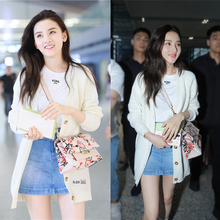 Early autumn of 2019, Song Zuer Star's same white cardigan jacket, women's loose medium-long bottom sweater knitted sweater