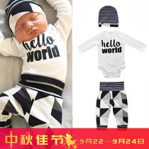 婴儿连体衣秋冬季外出抱衣加厚保暖新生儿爬爬服包脚纯棉宝宝冬装