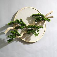 饰品立体日式守驹残巫柏饰 迎客松壁挂仿真植物中式植物挂件禅意装