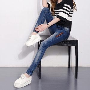 ONLY AGIG2017秋冬女装新款牛仔裤女士显瘦小脚裤弹力铅笔长裤子