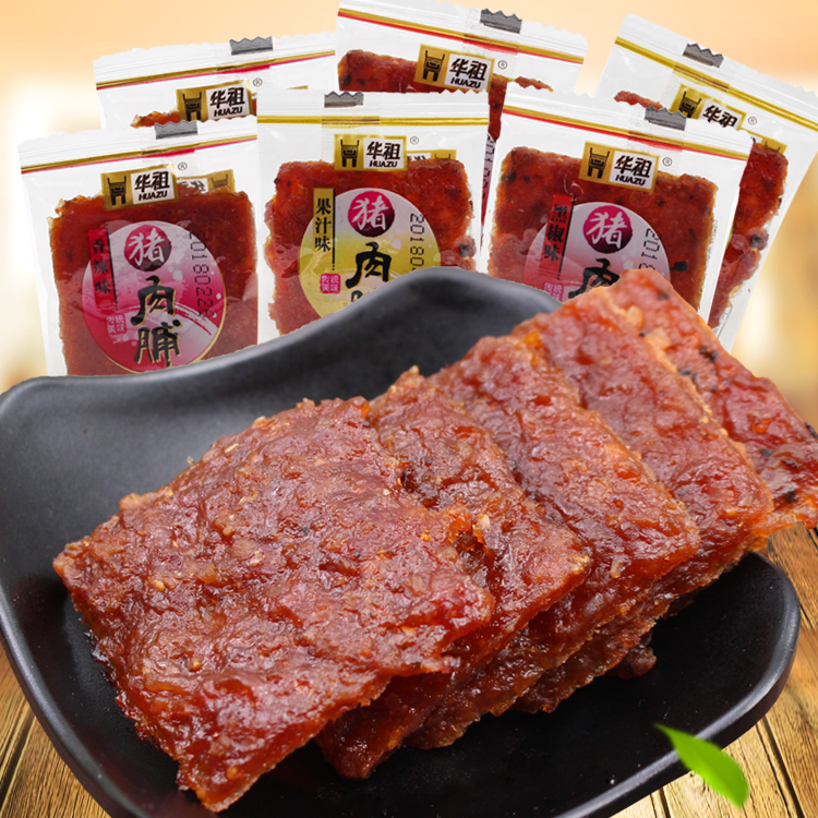 华祖猪肉脯果汁黑椒香辣黑椒味肉干休闲零食即食特产500g小包装