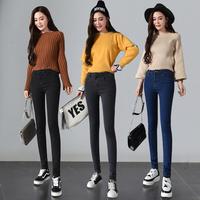加绒牛仔裤女2017春秋冬季新款韩版显瘦高腰小脚紧身黑色学生裤子