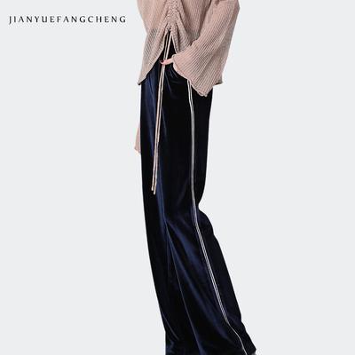欧洲站2018春装新款丝绒休闲裤女长裤子高腰大码宽松直筒裤阔腿裤