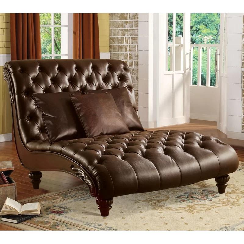 美式实木棕色真皮双人贵妃椅弧形欧式客厅卧室休闲椅两人位太妃椅