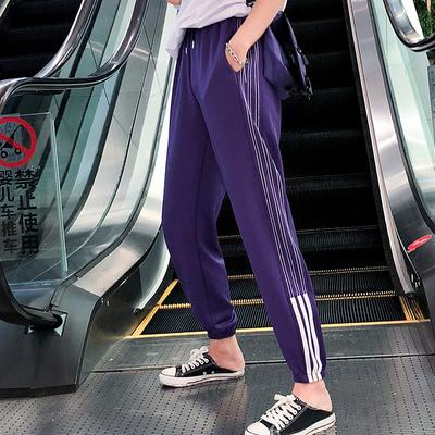 ins超火的裤子紫色运动裤女学生韩版宽松原宿休闲裤哈伦裤夏薄款