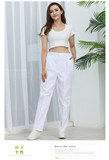 Nurse trousers winter summer thin white trousers loose west trouser waist doctor work pregnant woman white coat nurse uniform short sleeves