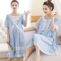 Pregnant women nightdress female summer pregnancy cotton loose breastfeeding nightdress summer postpartum feeding dress thin section can go out