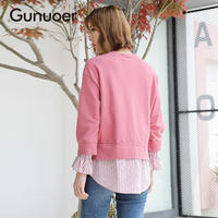 Casual slim stitching striped shirt fake two long sleeve wild ins pullover Gournor 2019 spring new