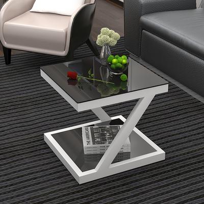 简约现代边几钢化玻璃铁艺小茶几迷你小方桌客厅边桌沙发边角几牌子口碑评测
