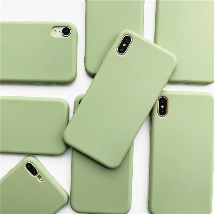 清新抹茶綠iPhone6sPlus手機殼7/8P簡約純色蘋果XS MAX軟殼磨砂XR