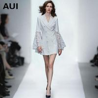 2017秋装新款女装时尚修身显瘦收腰白色西装外套女中长款休闲西服