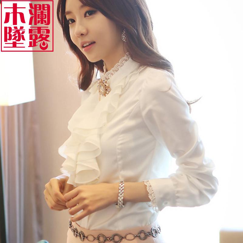 长袖衬衫雪纺荷叶边上衣秋装职业装OL立领韩范女士加绒打底白衬衣