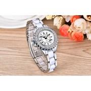女表防水白色陶瓷镶钻钢带手表女夏季表韩版时尚小清新初中高中