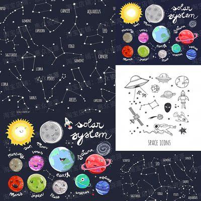可爱手绘矢量风格宇宙星空星座笔刷无缝背景墙贴纸图案纹理ai素材