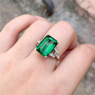 祖母绿戒指925纯银彩宝克拉方形彩色宝石碧玺色指环镀18K白金女