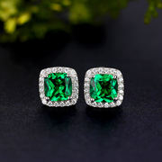 Emerald earrings 925 sterling silver plated 18K gold earrings color treasure color gemstone green tourmaline jewelry earrings female models