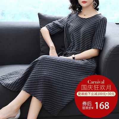 2018夏装新款女装系带苎麻宽松显瘦气质条纹短袖中长款连衣裙0076