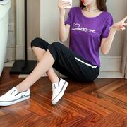 2018夏装新款时尚短袖七分大码韩版潮显瘦休闲运动套装女夏两件套