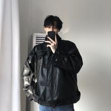 可拆卸加绒内里 韩版 秋冬宽松机车皮衣夹克厚外套男 cuibuju 18aw图片