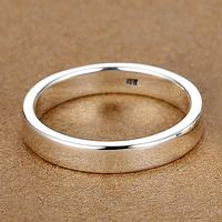 4MM【免费刻字】99纯银男士戒指女士情侣对戒 光圈 单身小指尾戒