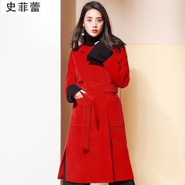 史菲蕾反季清仓大红色毛呢外套女中长款2018新款秋装黑色赫本大衣