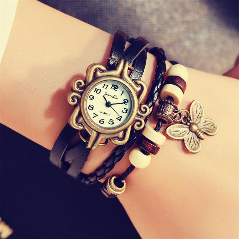 首瑞石英编织时装复古女表皮手链表学生韩国个性时尚潮流手表