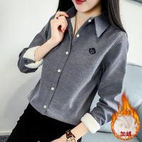 秋冬新款加绒加厚衬衫女韩版修身长袖大码保暖纯棉学生衬衣女外套