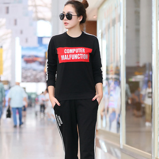 女士运动套装女装春季时尚潮圆领女士卫衣韩版休闲两件套2019新款