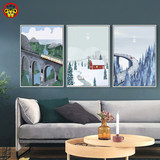 Modern minimalist Nordic style diy digital oil painting four seasons scenery traditional festival hotel house small fresh hanging painting