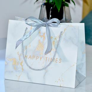 ins风礼品袋大理石纹包装 袋商务礼物袋婚庆喜糖袋定制服装 店纸袋