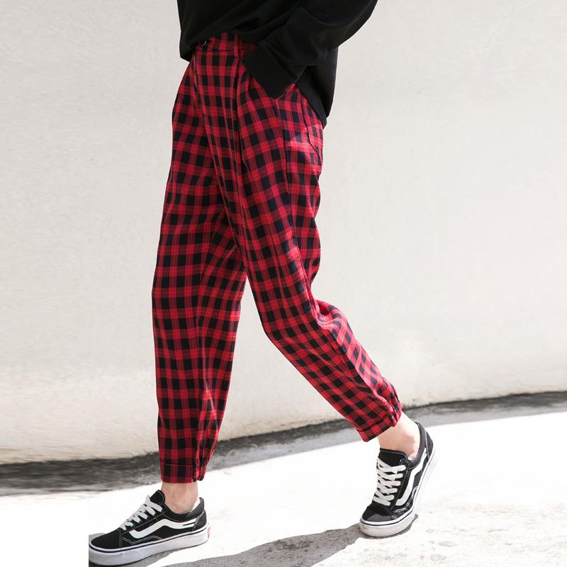 格子红小脚裤