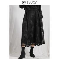 1#WOR衣全球秋季新款蕾丝半身裙女黑色中长款a字裙显瘦针织裙子女