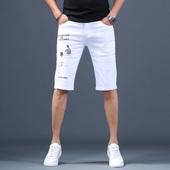 子男五分裤 男修身 潮牌七分裤 弹力休闲中裤 白色刺绣破洞牛仔短裤