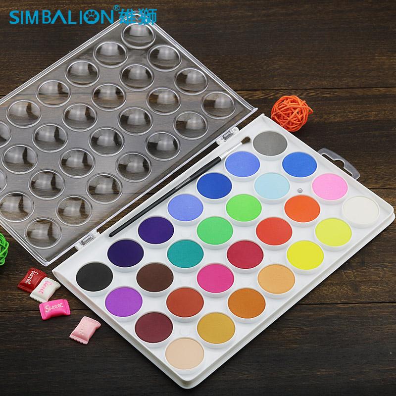 台湾雄狮固体水彩 28色/36色透明水彩颜料 学生美术绘画写生粉饼