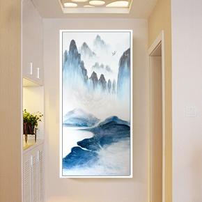 现代简约抽象艺术玄关装饰画客厅过道走廊创意壁画餐厅竖版挂画