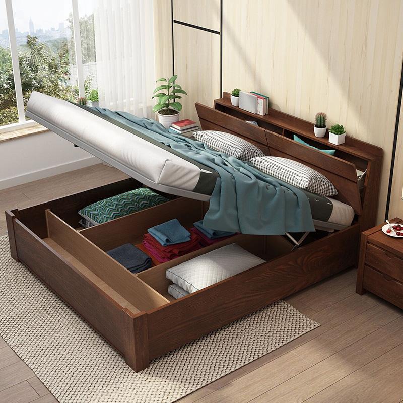 北欧水曲柳实木床气压床1.5米1.8米双人床主卧现代简约高箱储物床