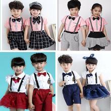 新款儿童背带裤演出服中小学生校服大合唱朗诵服表演服主持人礼服