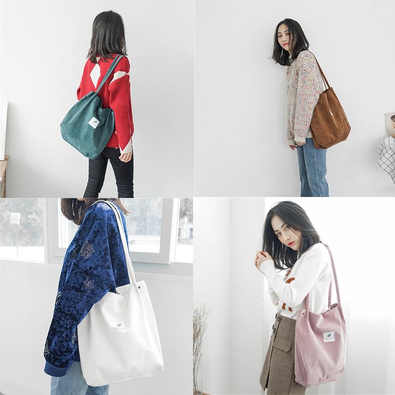 帆布包女单肩韩版文艺小清新学生手提拎书袋折叠便携环保购物布袋