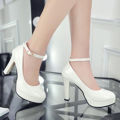 2019新款韩版单鞋女防水台女鞋粗跟高跟鞋圆头一字扣带漆皮公主鞋