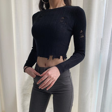 DQSTORE knitted sweater with high waist, navel, long sleeve, round collar, black and white holes in autumn and winter