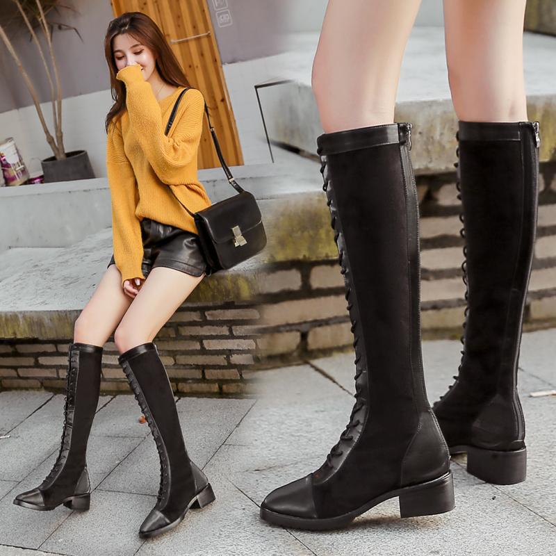 小个子长靴女不过膝网红机车骑士绑带马靴高筒靴子女冬长筒靴平底