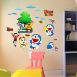 Cartoon animation jingling cat machine cat wall sticker creative Doraemon bedroom bedside wall sticker