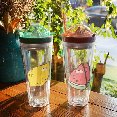 2018某某水果塑料双层榨汁杯 带吸管柠檬创意多功能水杯子A02