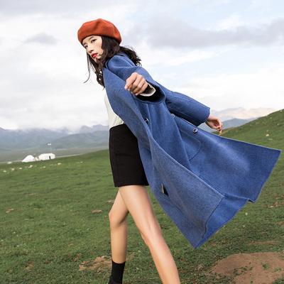 反季雾霾蓝加厚毛呢外套羊剪绒冬森系呢子双面大衣高端秋冬韩版潮