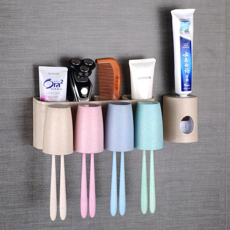牙刷置物架壁挂免打孔牙刷架刷牙杯套装卫生间挂墙式洗漱杯置物架